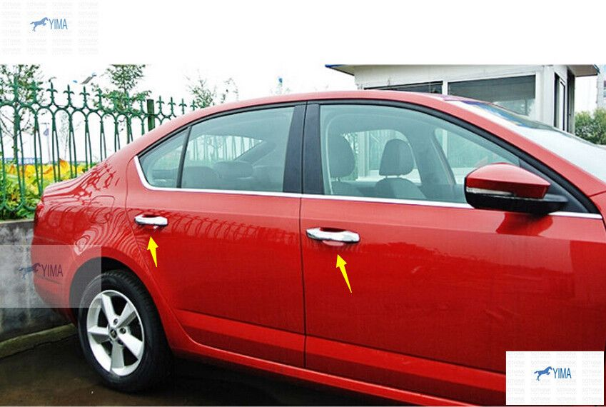 New Style ! Chrome Side Door Handle Cover Trim For Skoda Octavia MK3 A7 2015 2016 / without smart key hoe model!