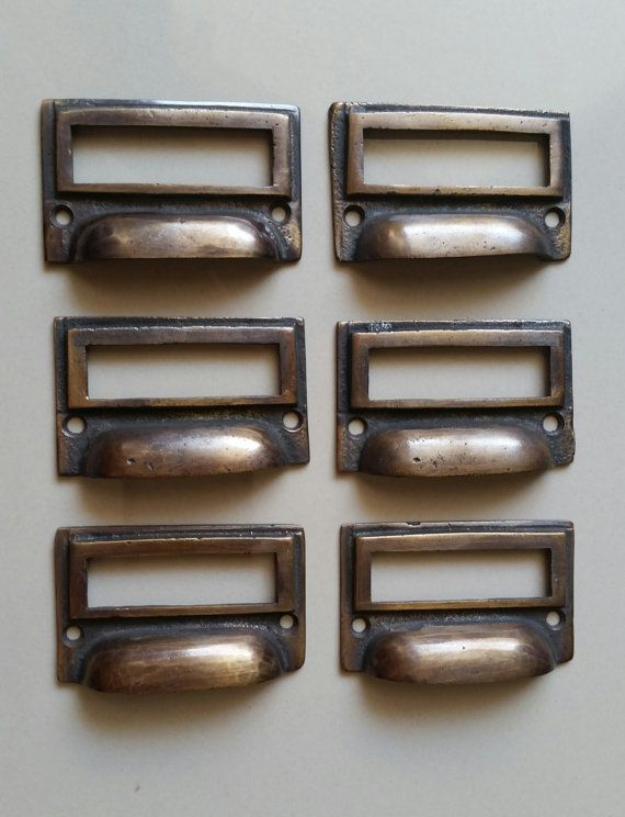 6 Antique Vintage Style Card File Cabinet Handle File Label Etsy In 2020 Drawer Pull Handles Card Files Drawer Pulls