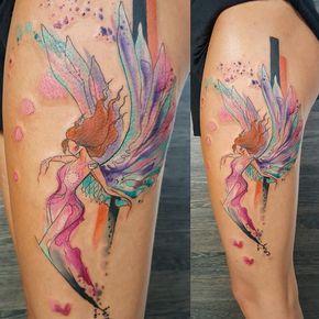Watercolor Angel Tattoo http://tattooideas247.com/watercolor-angel-tattoo/