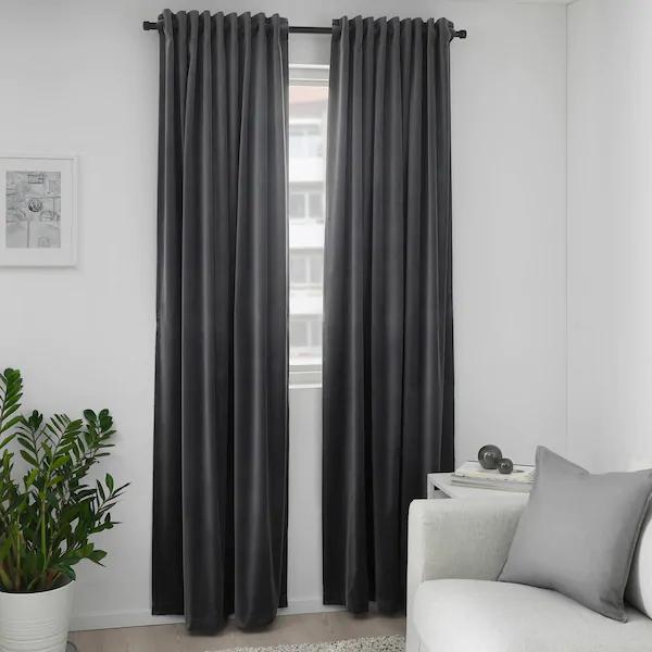 Sanela Room Darkening Curtains 1 Pair Dark Gray 55x98 Ikea In 2020 Block Out Curtains Room Darkening Curtains Dark Grey Curtains
