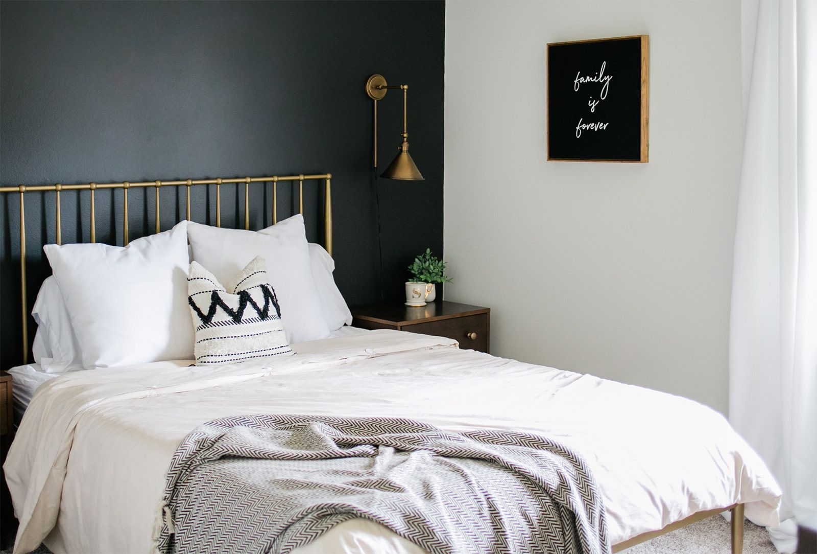 How To Style A Black Accent Wall In A Bedroom Clare Black Accent Walls Accent Walls In Living Room Grey Accent Wall