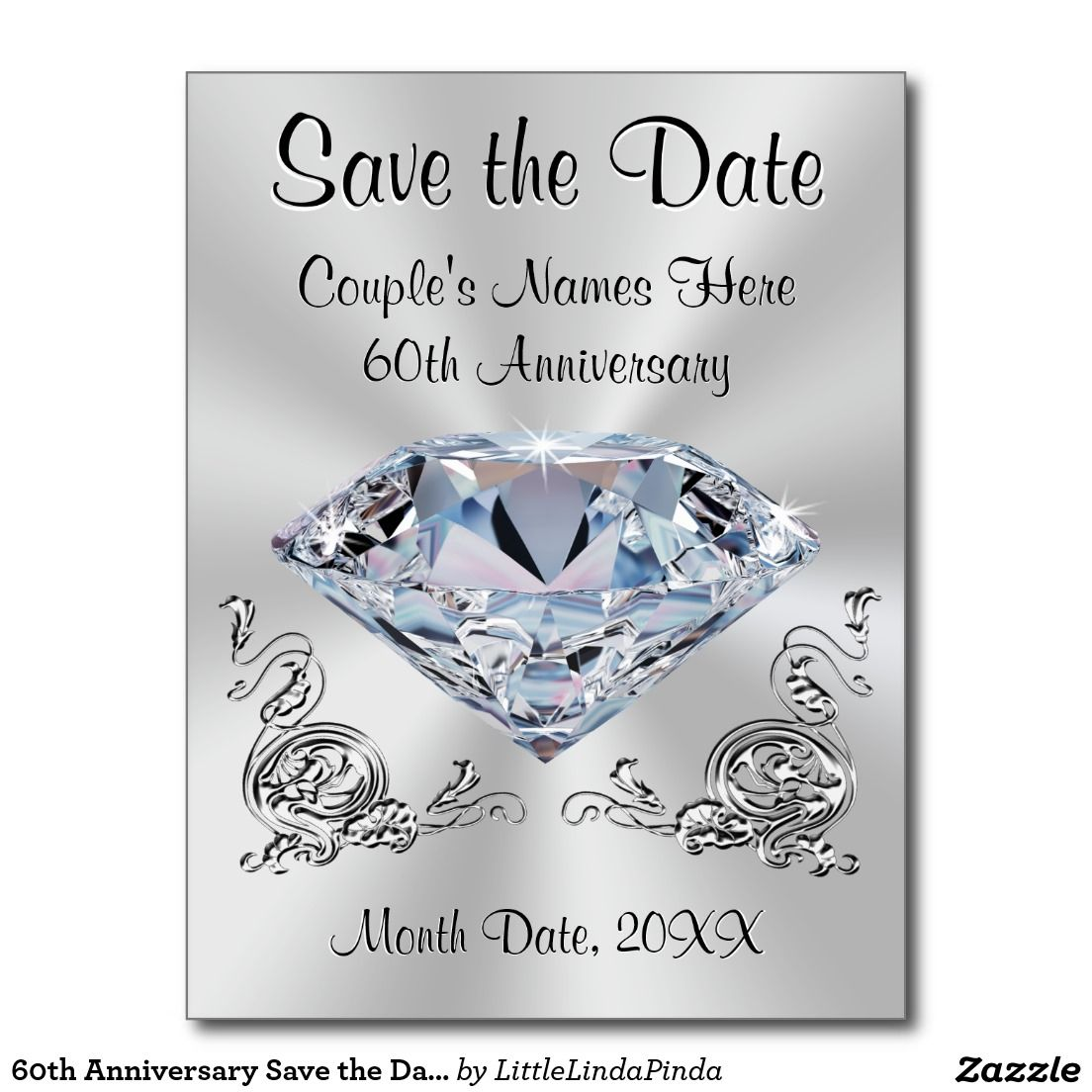 60th Anniversary Save The Date Cards Personalized On Front And Back With 5 Text Bo