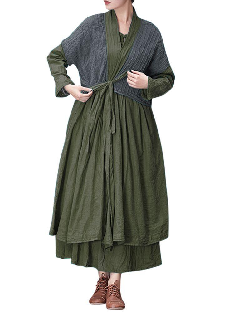 a0d20713761d Gracila Casual Loose Solid Color Front Belt Long Sleeve Women Dresses
