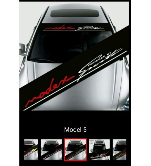 Car Stickers Modex Power By Sports For Car Front Windshield