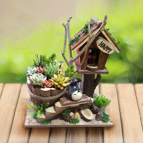 Succulent Planters / Indoor Pots Cute Wood Totoro House