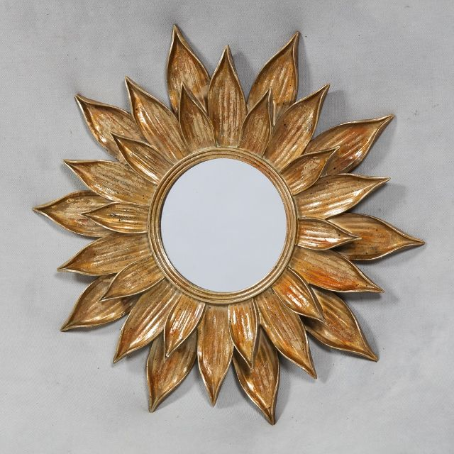 Gold Metal Lotus Flower Wall Mirror | home | Gold framed mirror, Vintage mirrors, Mirror