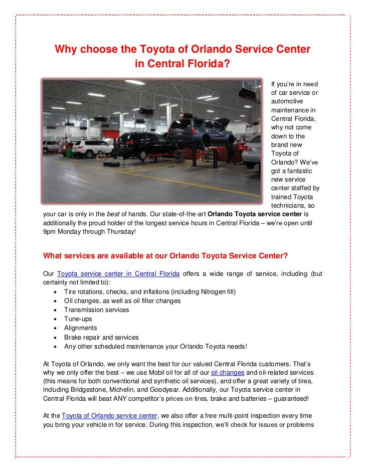 Awesome Why Choose The Toyota Of Orlando Service Center? Visit Our State Of The Art Toyota  Service Center In Central Florida Today For Great Prices And The Best ...