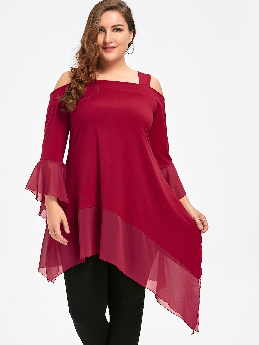 6ddc77d30c998 Plus Size Cold Shoulder Asymmetric Tunic Top - RED 5XL