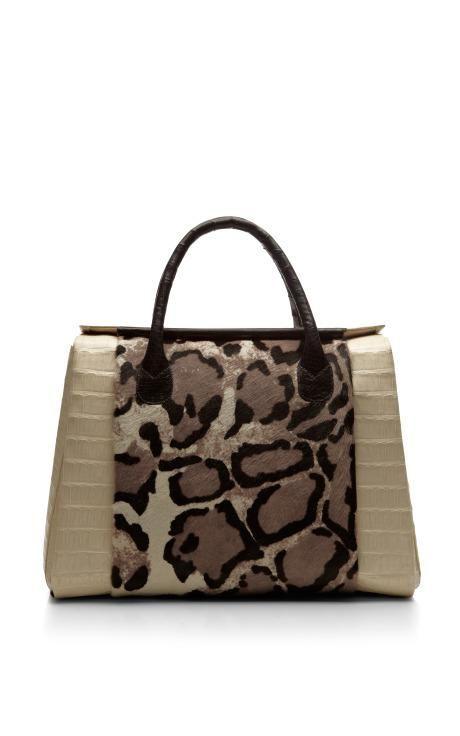 Crocodile And Pony Black And White Leopard Tote by Nancy Gonzalez for Preorder on Moda Operandi
