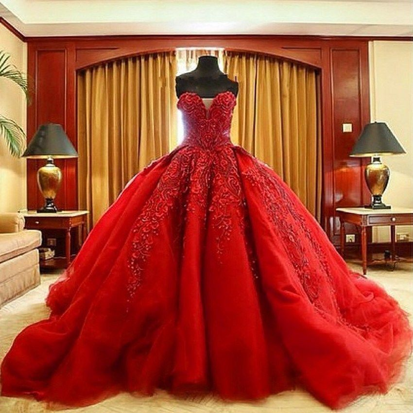 Luxury Red Ball Gown Wedding Dresses Beaded Embroidery Lace ...