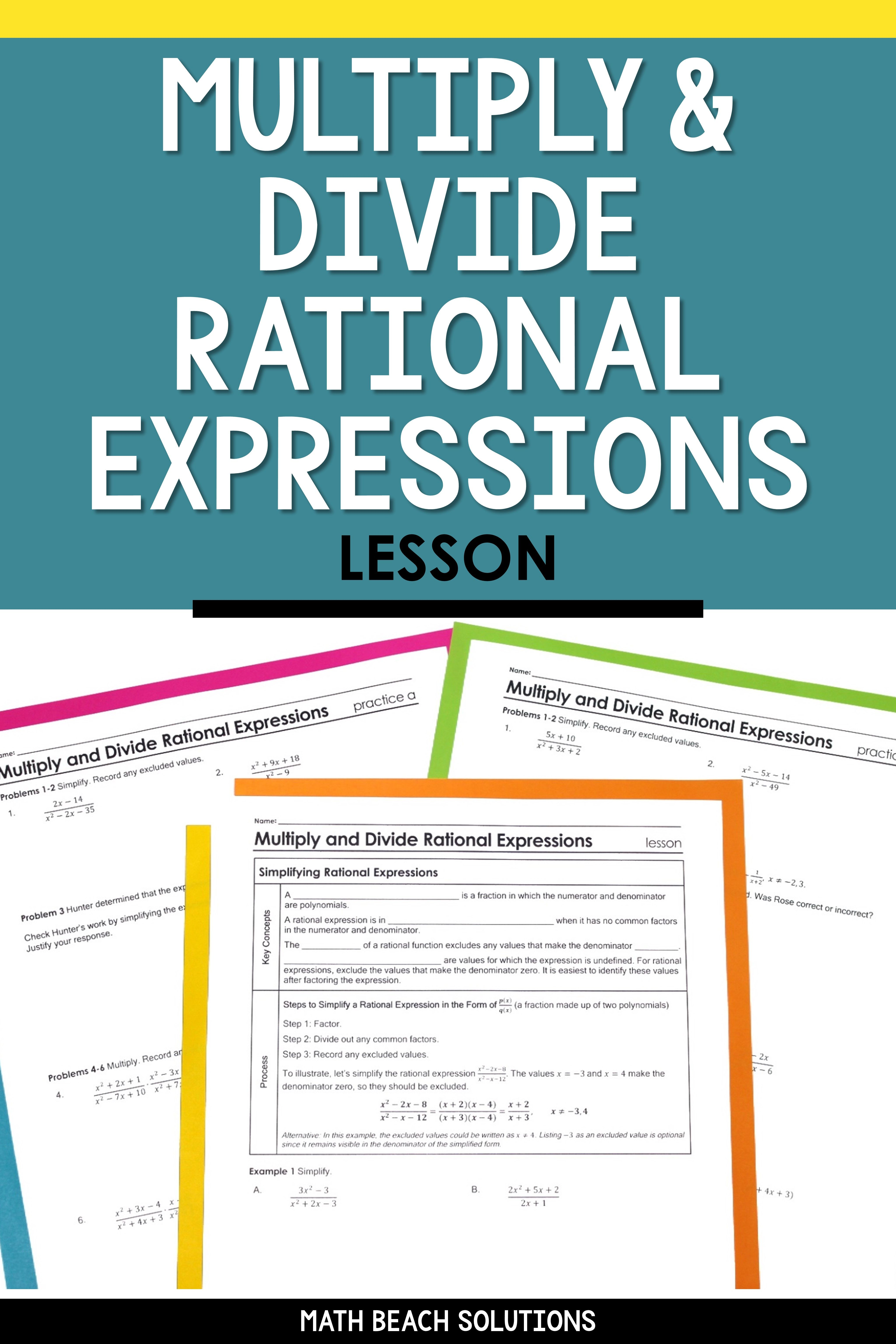 Multiply And Divide Rational Expressions Lesson