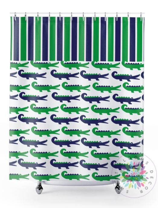 Alligator Shower Curtain Green Navy Alligator Bathroom Decor