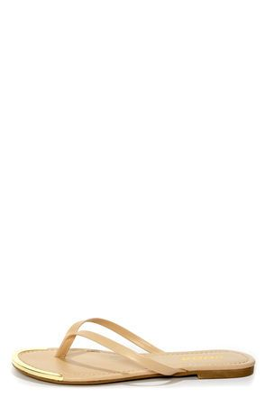 e55c1405c Soda Union Nude Gold-Tipped Thong Sandals at LuLus.com!  lulusrocktheroad