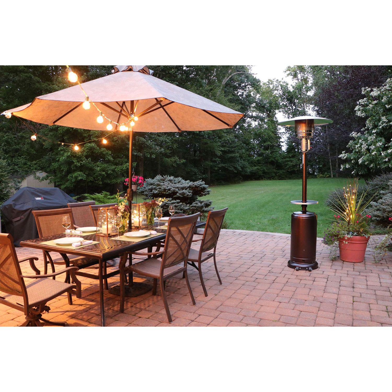 7 Ft Steel Umbrella Patio Heater In Hammered Bronze Han001br