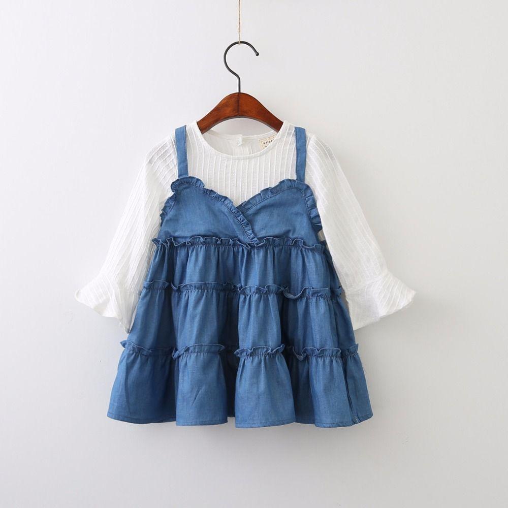Everweekend Girls Ruffles Agaric Laces Denim Dress Lovely Kids False ...