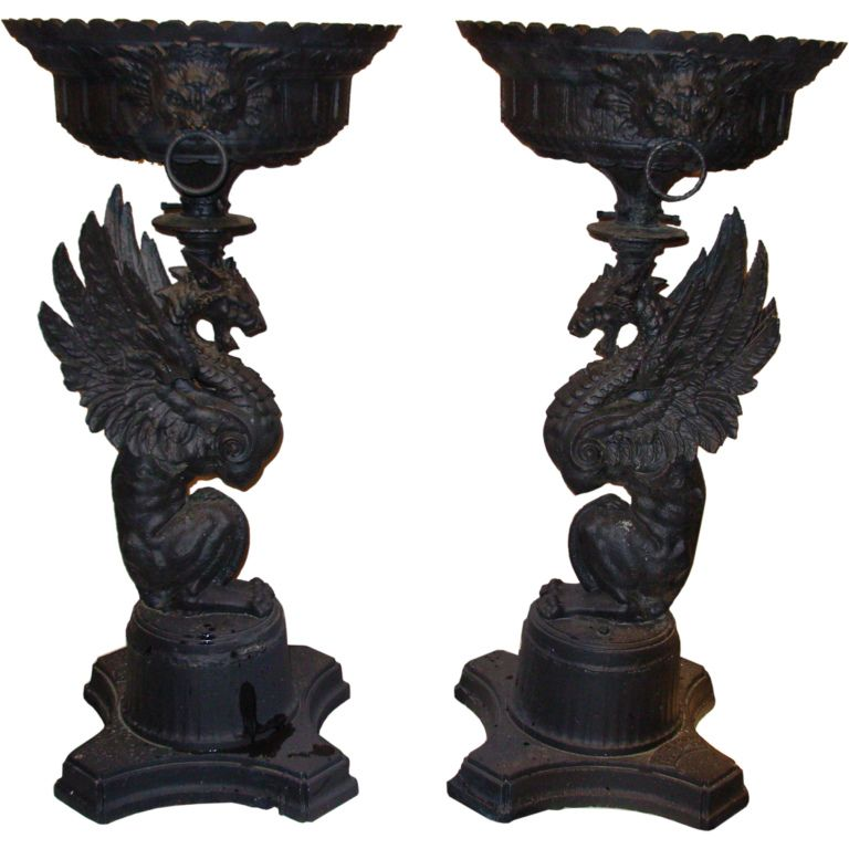 1stdibs Antique Cast Iron Figural Garden Urns Explore Items From 1 700 Global Dealers At 1stdibs Com Garden Urns Antique Cast Iron Decorative Urns