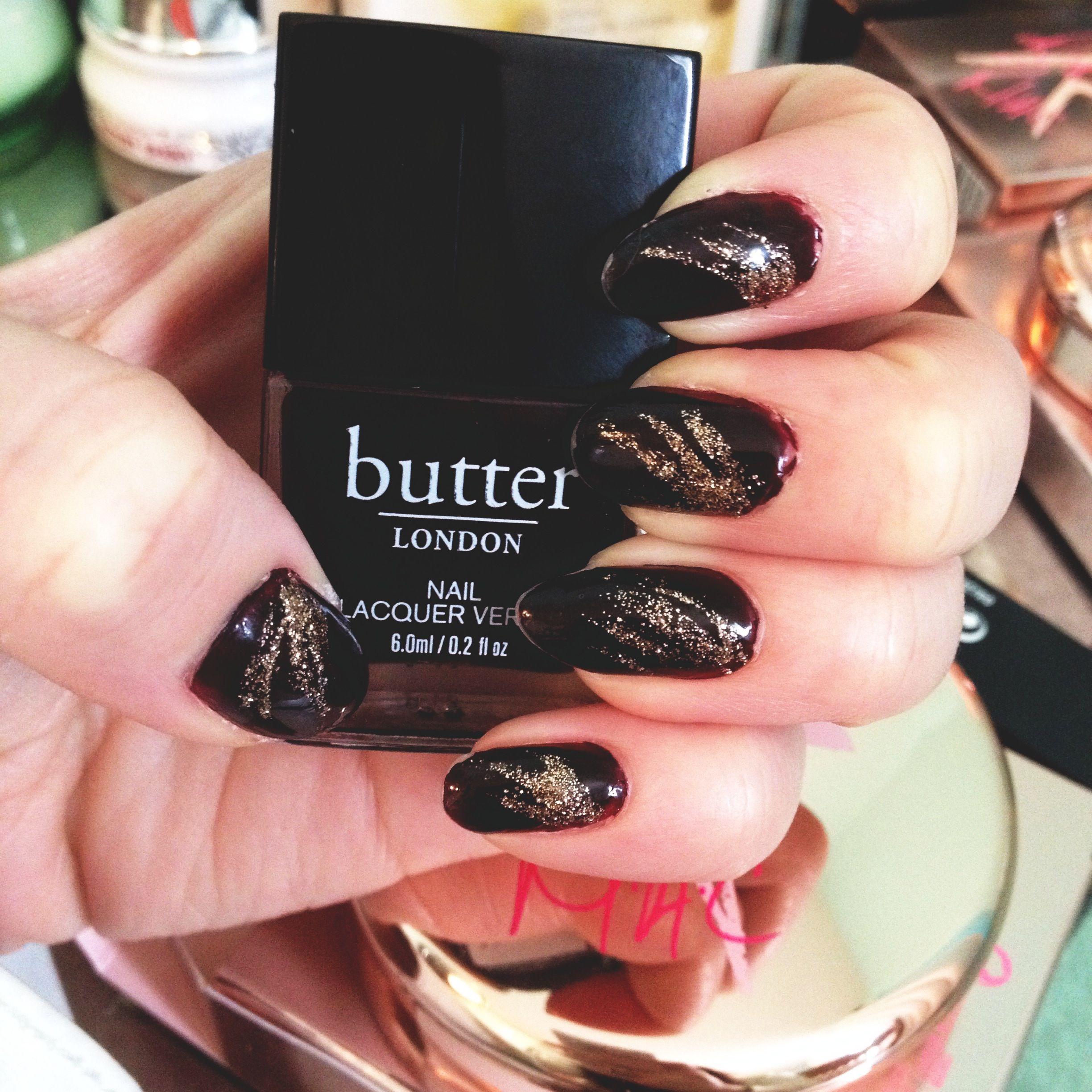 Dark fall nails #butterlondon #nailart | Nail designs | Pinterest