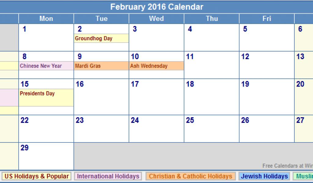 February 2016 Calendar With Holidays Printable Calendar
