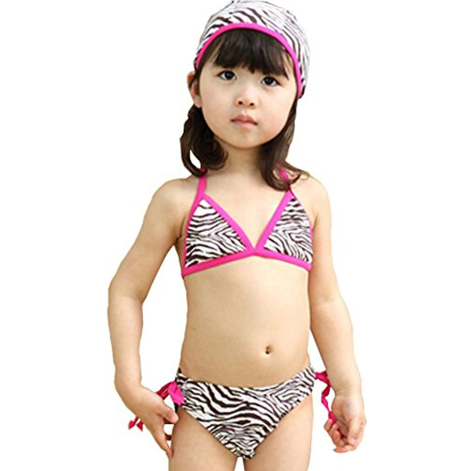 cc55d5cf83e97 Zebra Pattern Little Girls Swimsuit Kids Two-pieces Bikini Swimwear 5T Rose  ** Click image for more details. (This is an affiliate link) #Swimwear