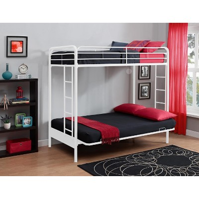 Twin Over Futon Bunk Bed White Dhp