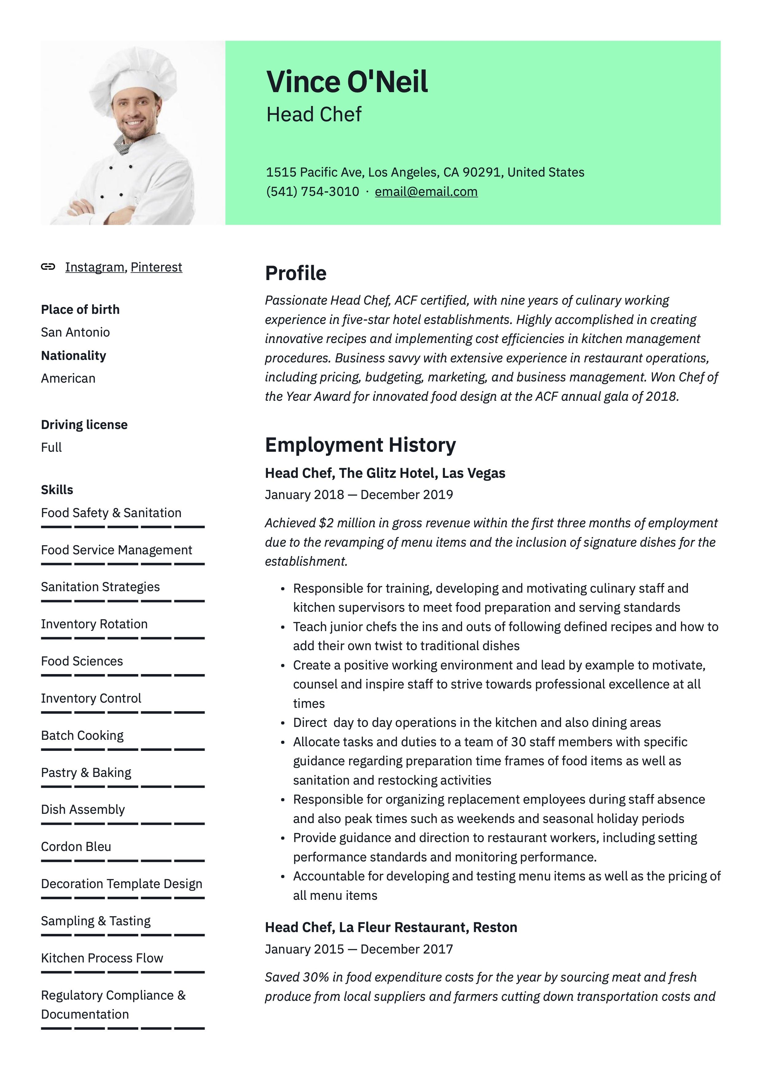 Head Chef Resume Sample Chef Resume Guided Writing Resume