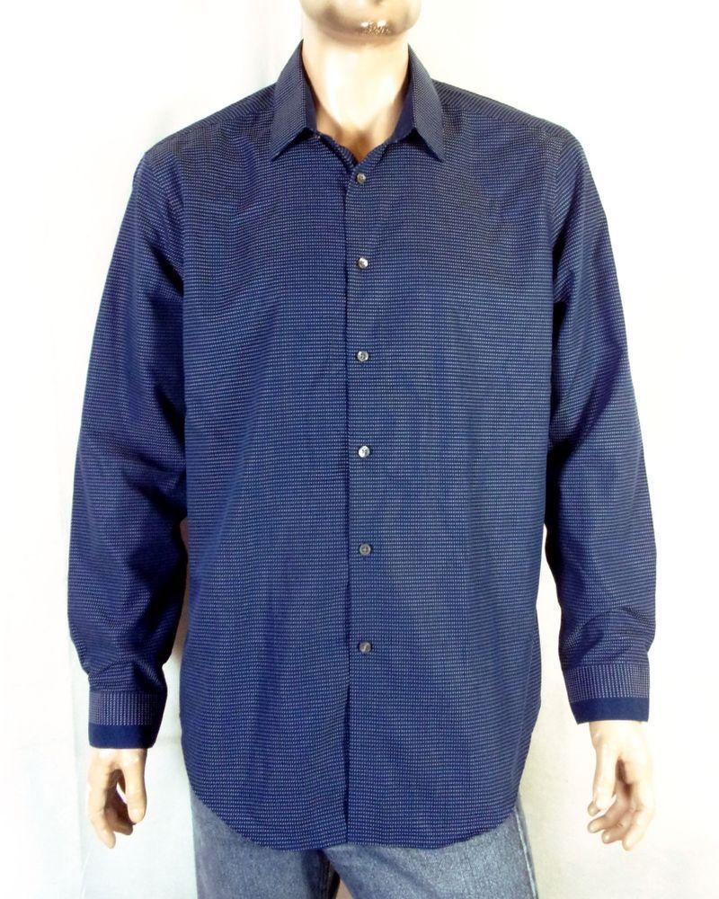 Nwot Calvin Klein Blue White Dot Steel Cotton Dress Shirt Slim Fit