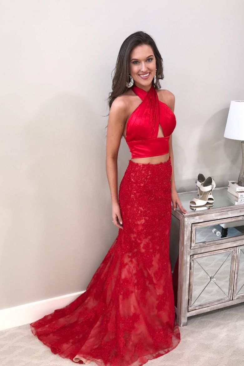 Sexy two piece halter red mermaid long prom dress prom slay