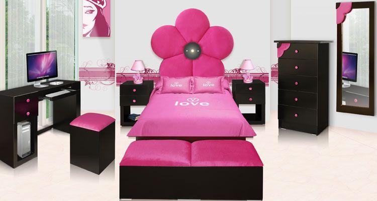 Rec mara flowers fiusha individual kids room pinterest for Recamara individual juvenil