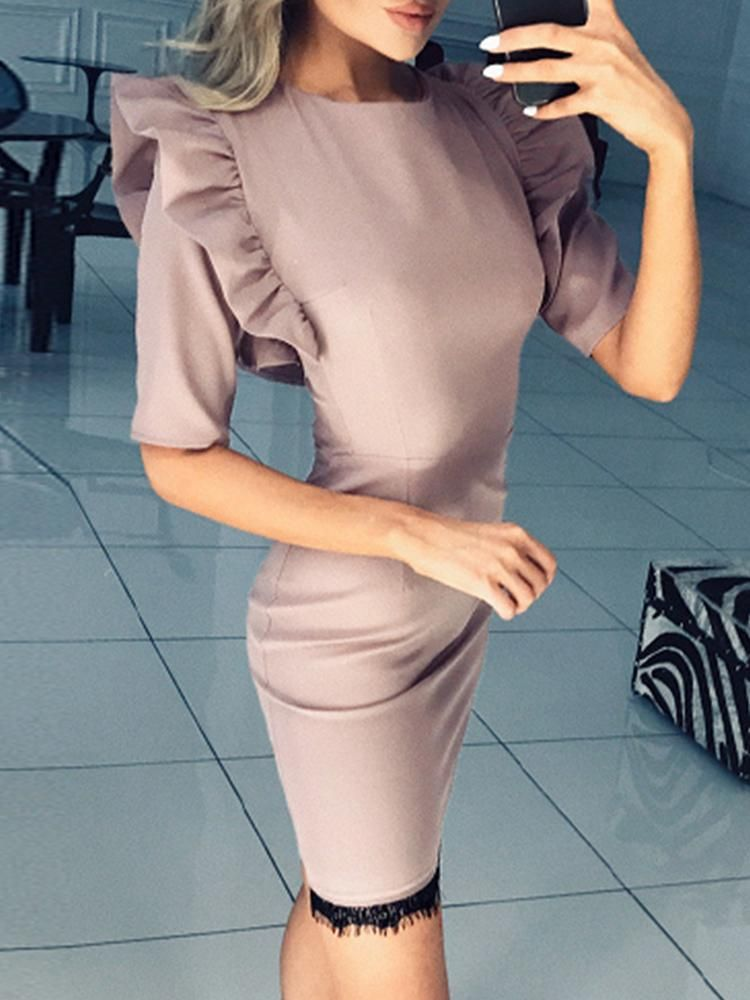 433c2a2012 Ruffles Shoulder Eyelash Lace Bodycon Dress in 2019