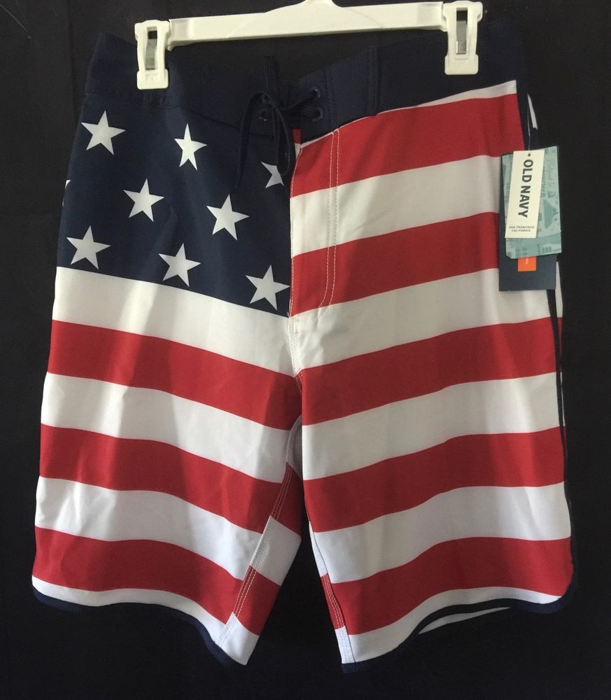 103e8caf35 Old Navy Men's Flag Patriotic USA Swimsuit Board Trunks Built in Flex Size  32 #oldnavy #Trunks
