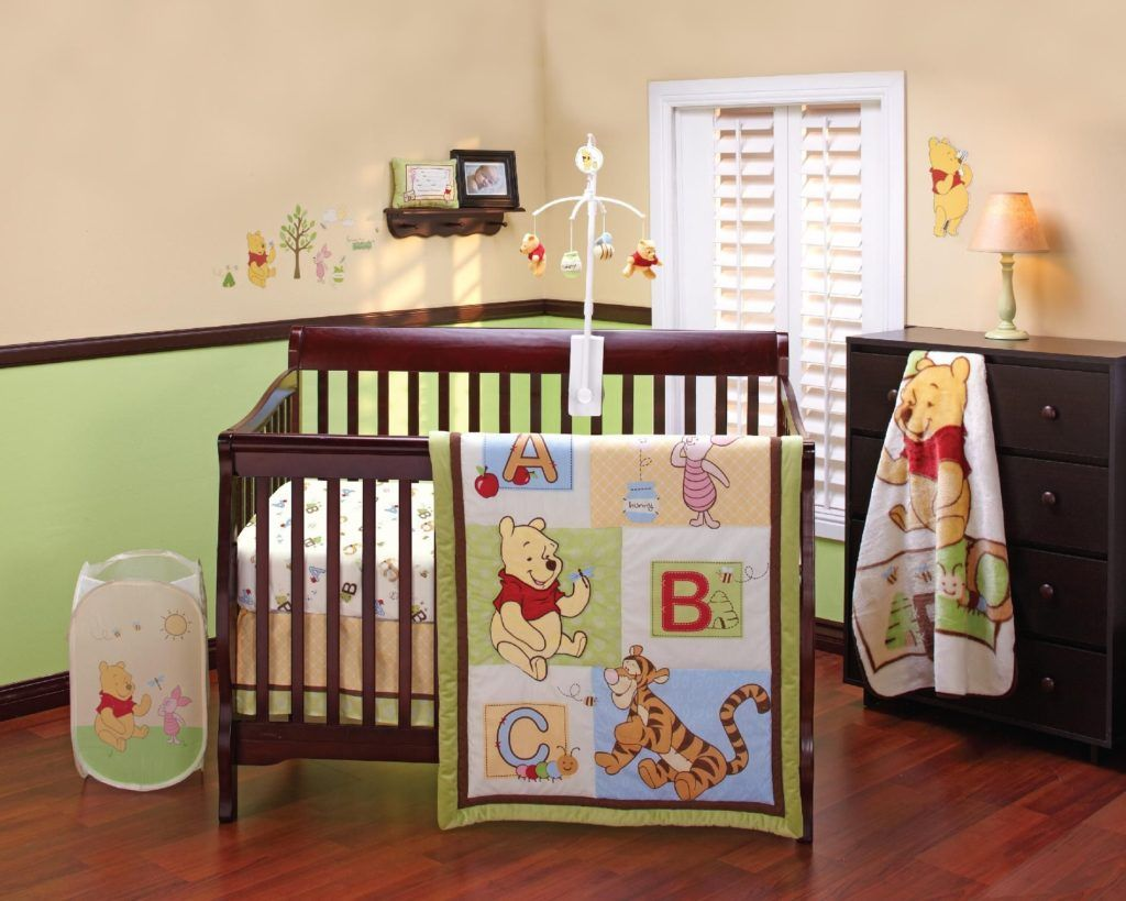 Kids Room Interior Ideas Winnie The Pooh Bedding Sets On Cherry Wood Baby  Boy Crib Baby