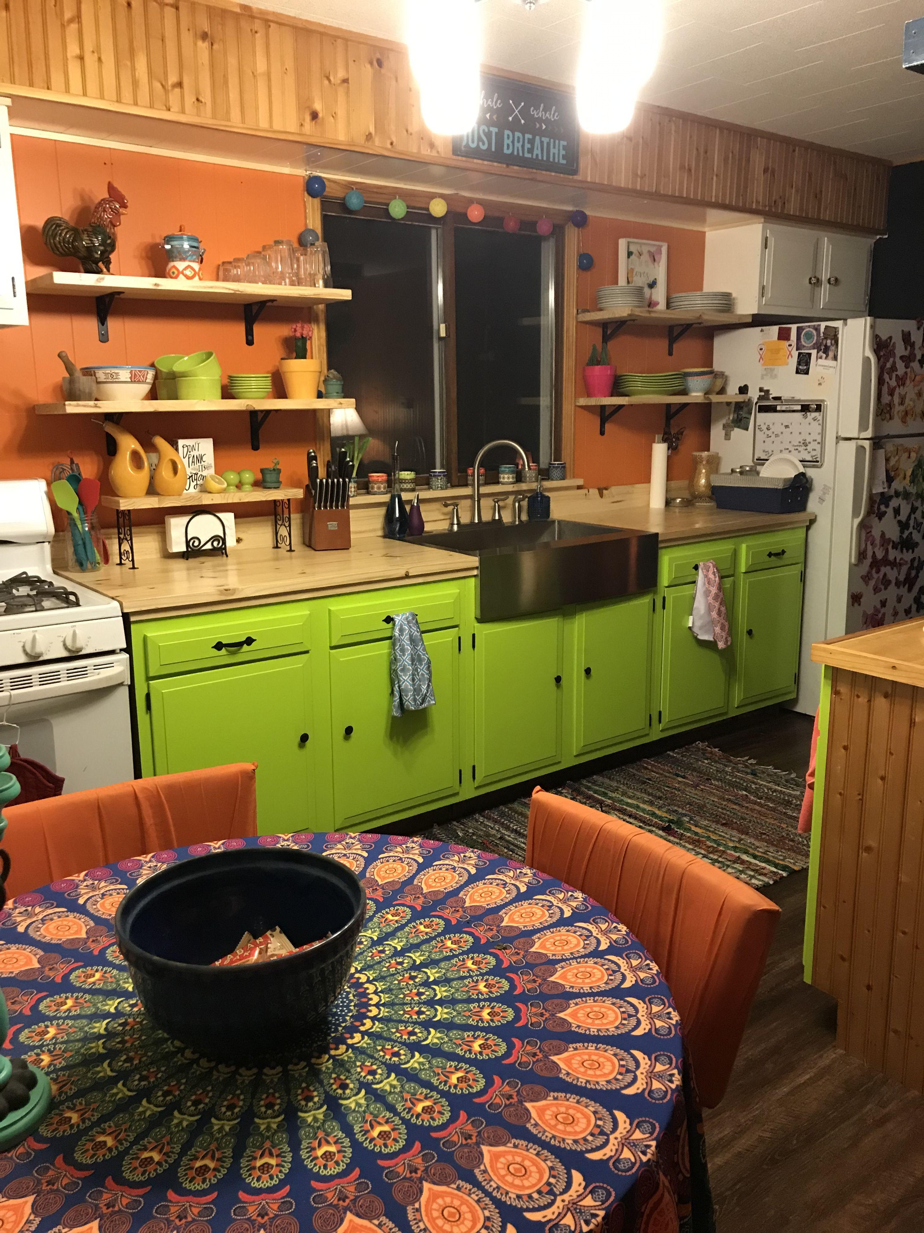 hippie kitchen exposed shelves farmhouse sink orange walls painted cabinets hippie kitchen on kitchen decor hippie id=97935