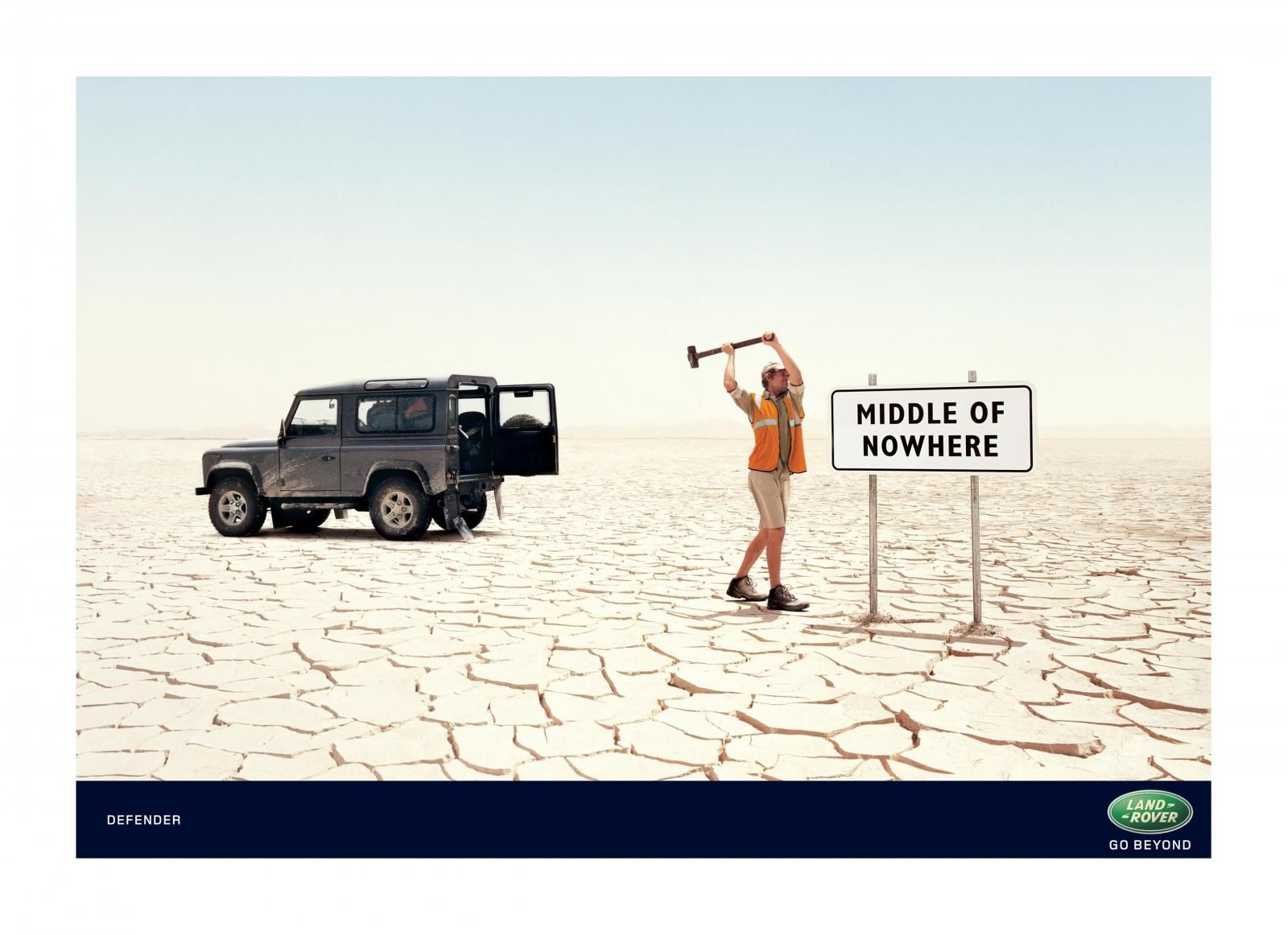 Land rover defender middle of nowhere print ad by rainey