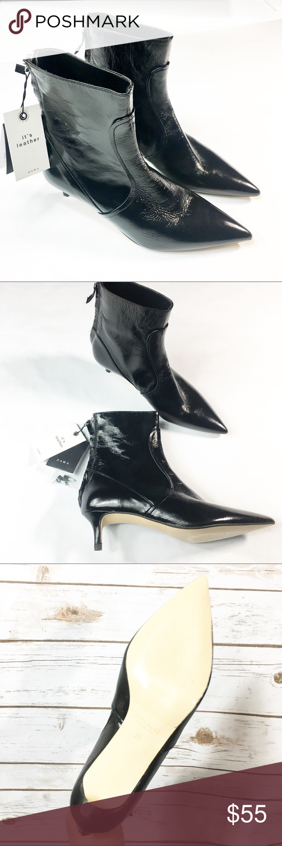 Zara Leather High Heel Ankle Boots High Heel Boots Ankle Heels Leather High Heels