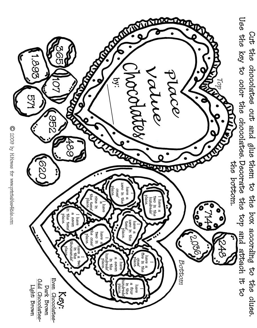 Coloring pages for double digit subtraction - Valentine Math Place Values Activity Sheet Printables For Kids Free Word Search Puzzles