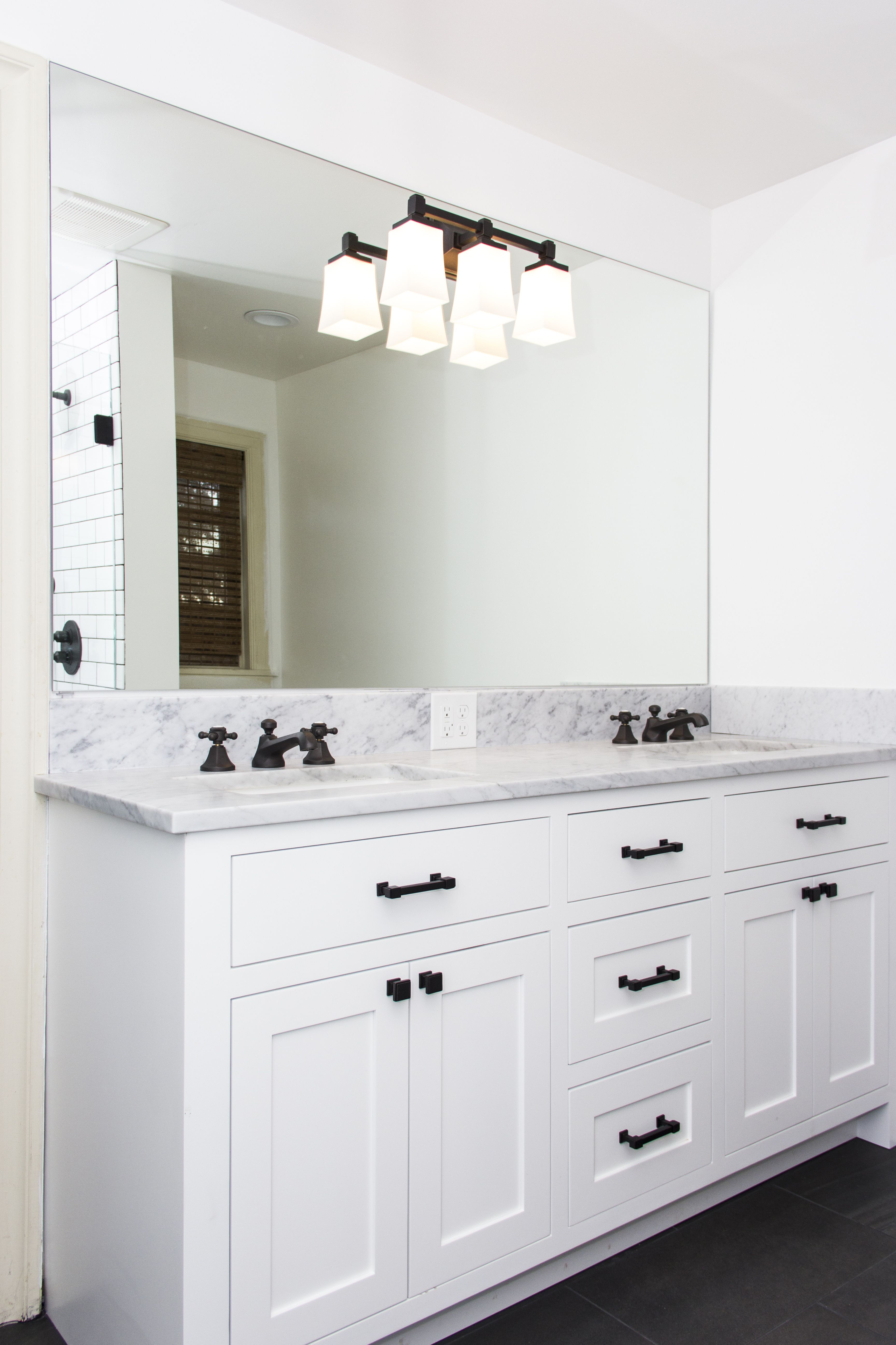 Custom white cabinets with pental quartz countertops | Bathroom ...