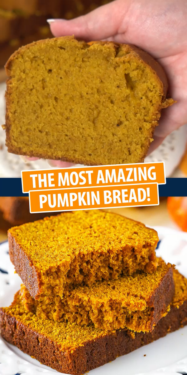 Easy and moist loaf full of flavor, pumpkin, and spice! This yummy pumpkin bread is great for the fall season! Bring on the pumpkin!