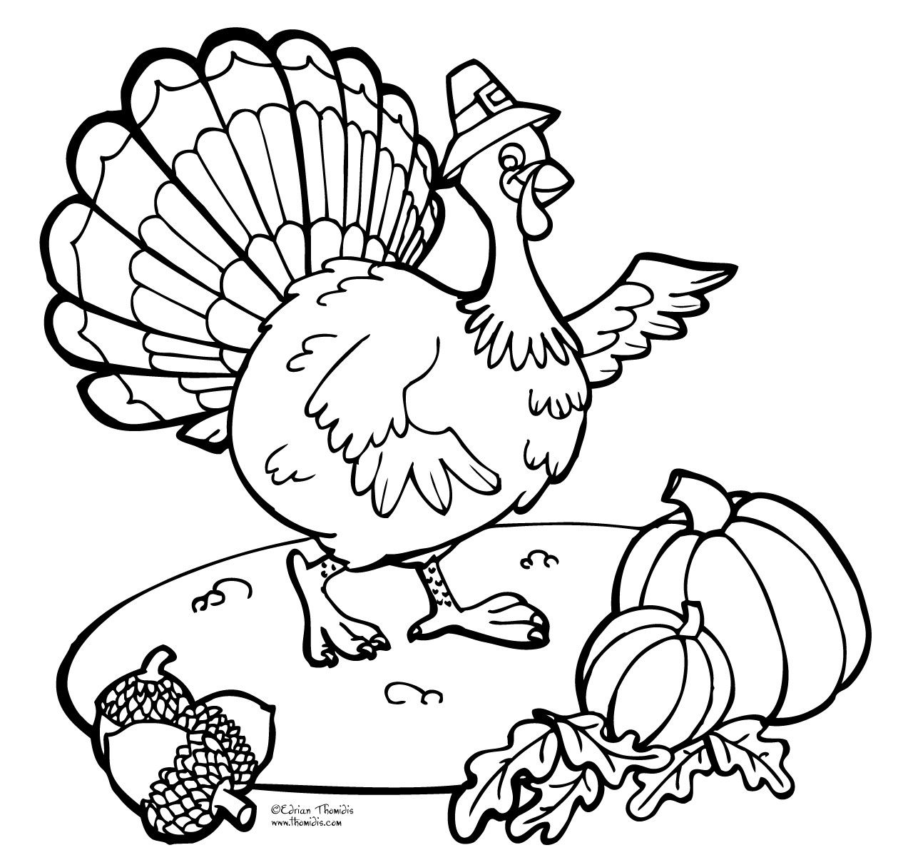 Happy Thanksgiving Turkey Free Easy Coloring Page Happy