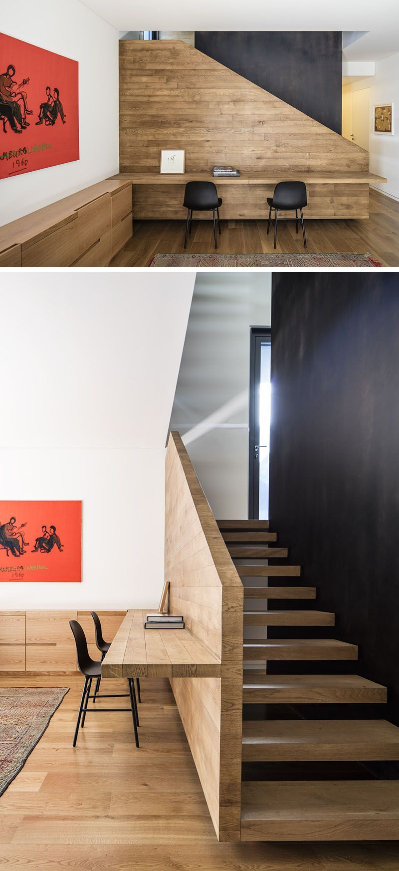 Home interior stairs interior design ideas  build a desk on an unused wall space to