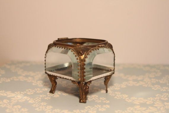 Small Vintage Glass Box for Trinkets and by lostfoundandloved