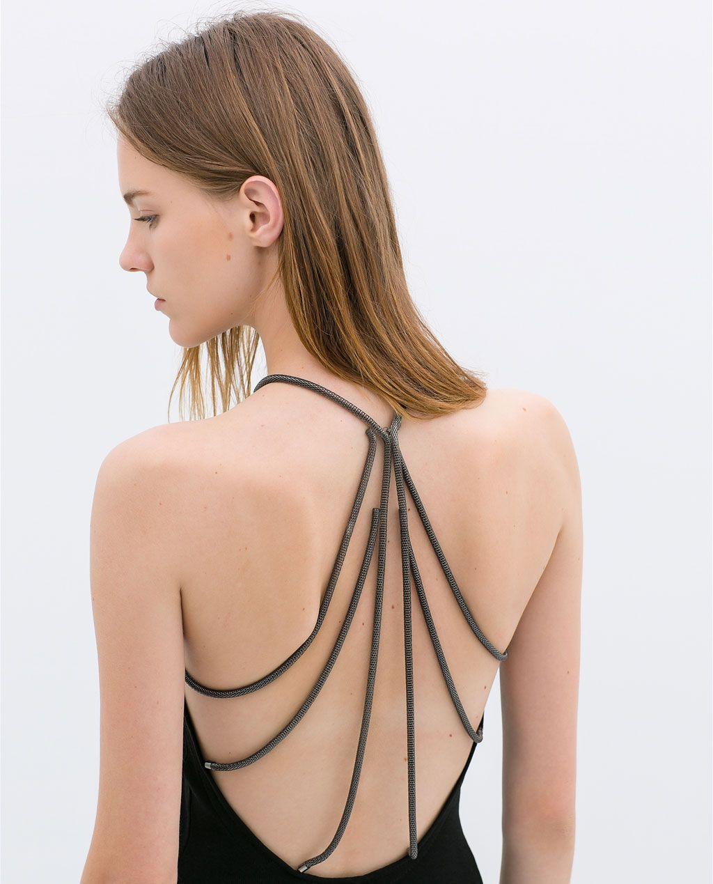 Image 7 Of Dress With Chains On The Back From Zara Zara Woman Dress Zara Black Dress Wedding Dress Backs [ 1269 x 1024 Pixel ]