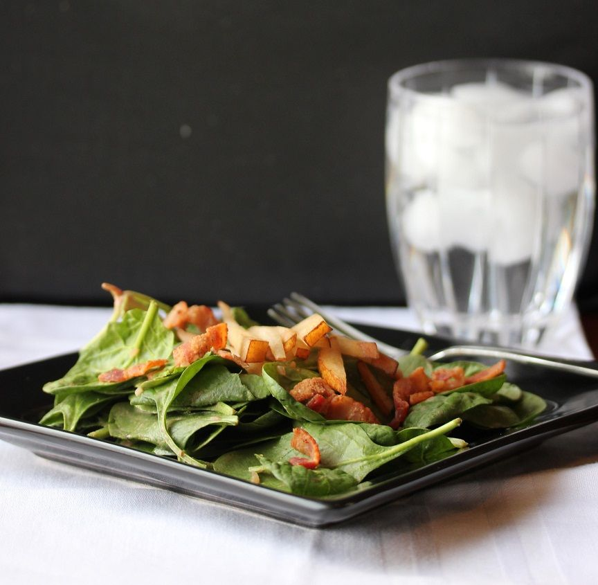 spinach salad with warm bacon dressing! Yummy. I added ...