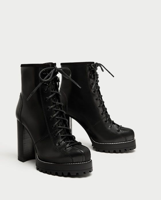 e462e64413afa Image 3 of LACE-UP LEATHER HIGH HEEL ANKLE BOOTS from Zara ...