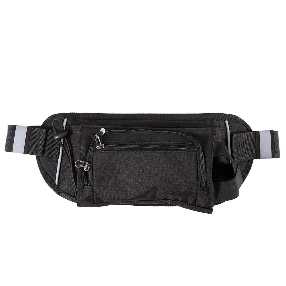 Black Leather Fanny Pack with Phone//Water Bottle Holders