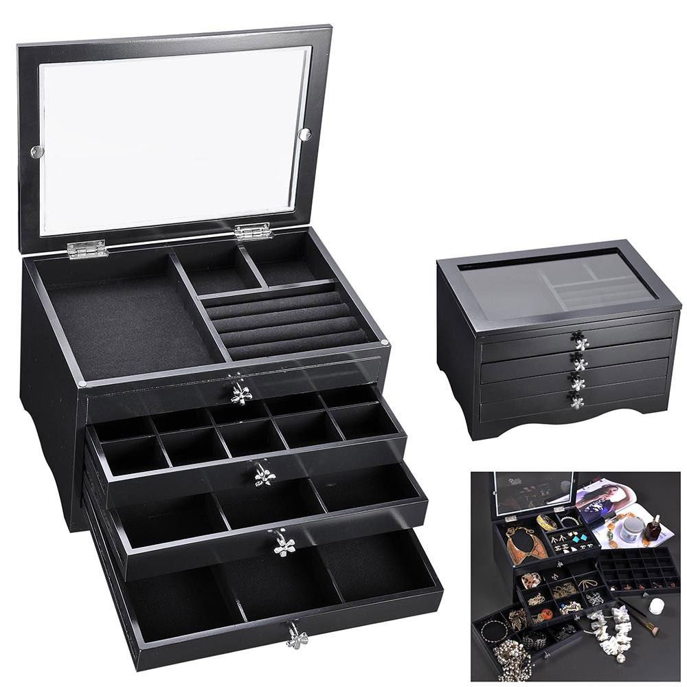 Jewelry Box Storage Ring Earring Necklace Organizer Black White