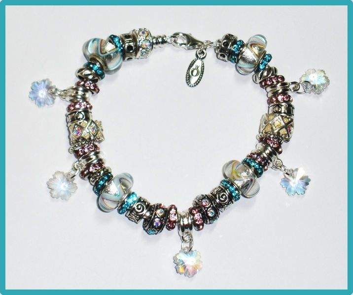 """❄❄ 'Snowflakes' Euro Bracelet from Designs by Bunny ~ 8"""" ~ NEW!! ❄❄"""