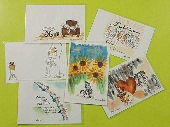絵本『ネコずかん』の原画を含めた6枚をポストカードをセットにしたものです。1枚1枚袋に入っております。|ハンドメイド、手作り、手仕事品の通販・販売・購入ならCreema。