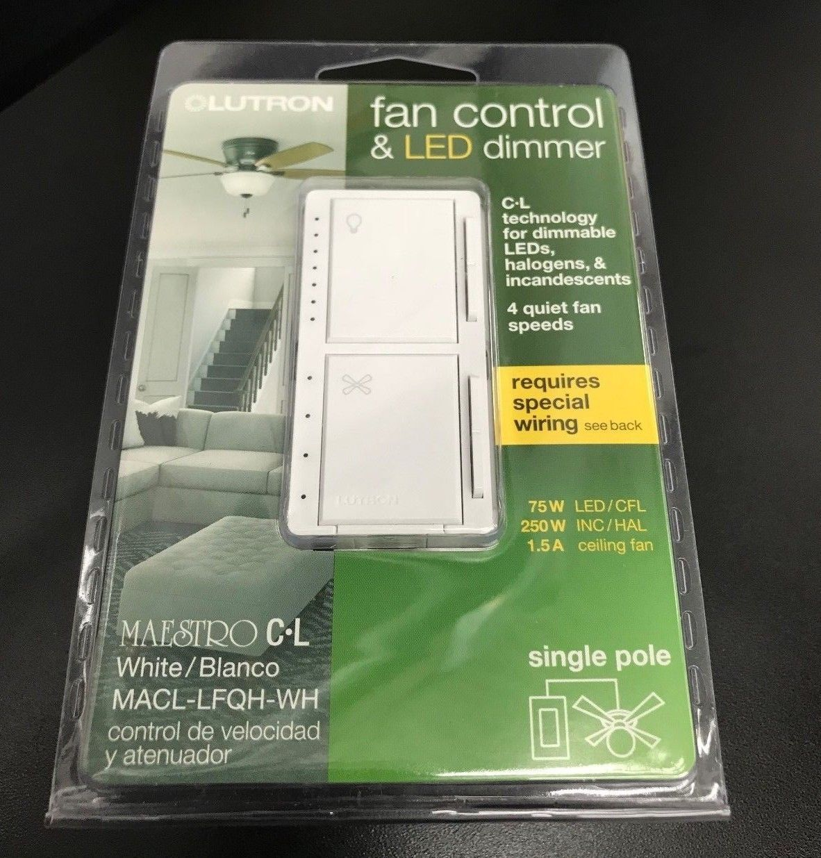 Lutron Macl Lfqh Wh Maestro Fan Control And Light Dimmer For Dimmable Leds Dim Lighting Lutron Dimmer