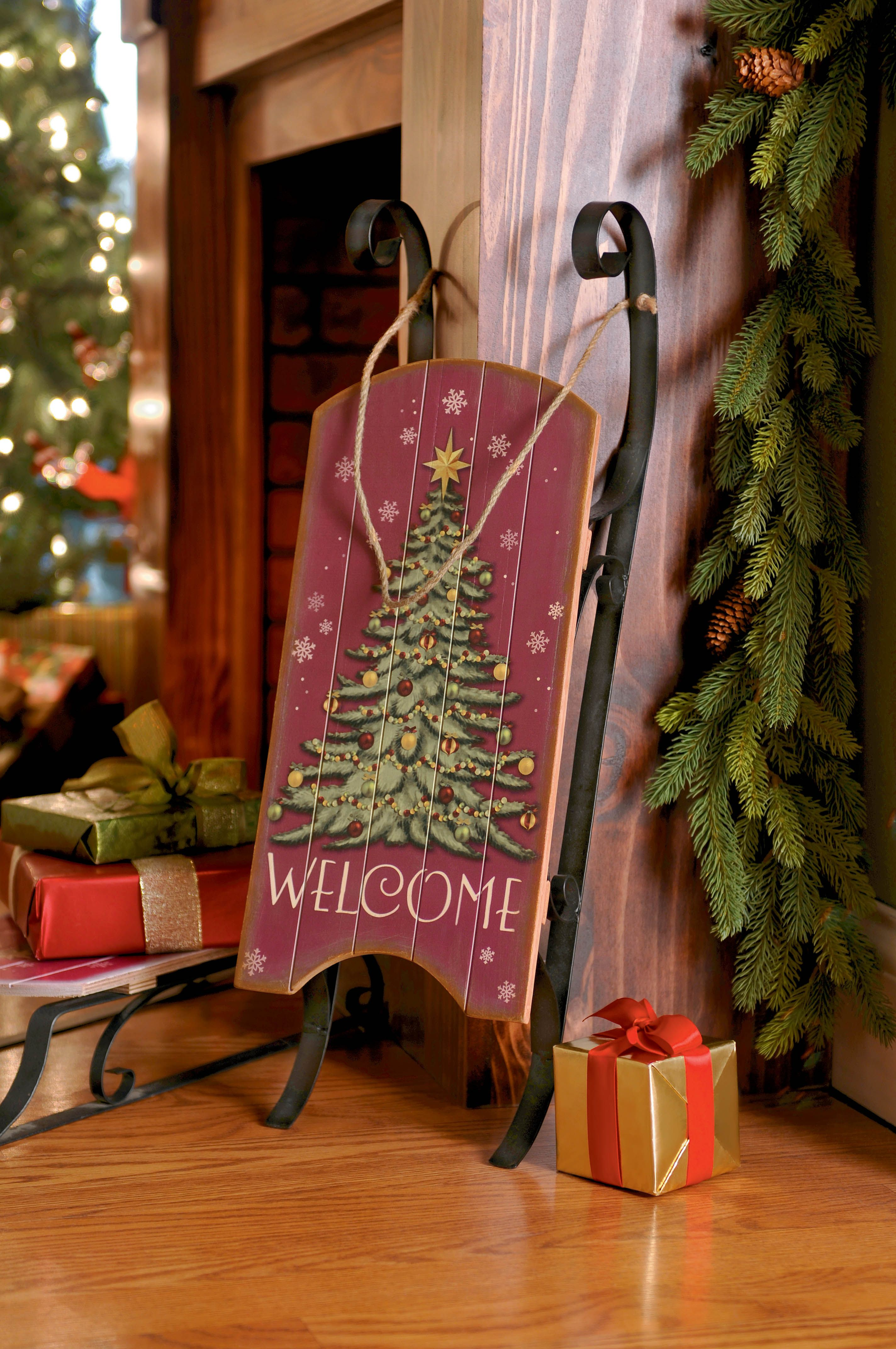 A classic christmas accent decorative antiqued wooden for Antique sled decoration