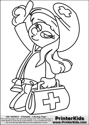 Coloring Page With Smurfette La Schtroumpfette As A Doctor The Colouring Sheet Show